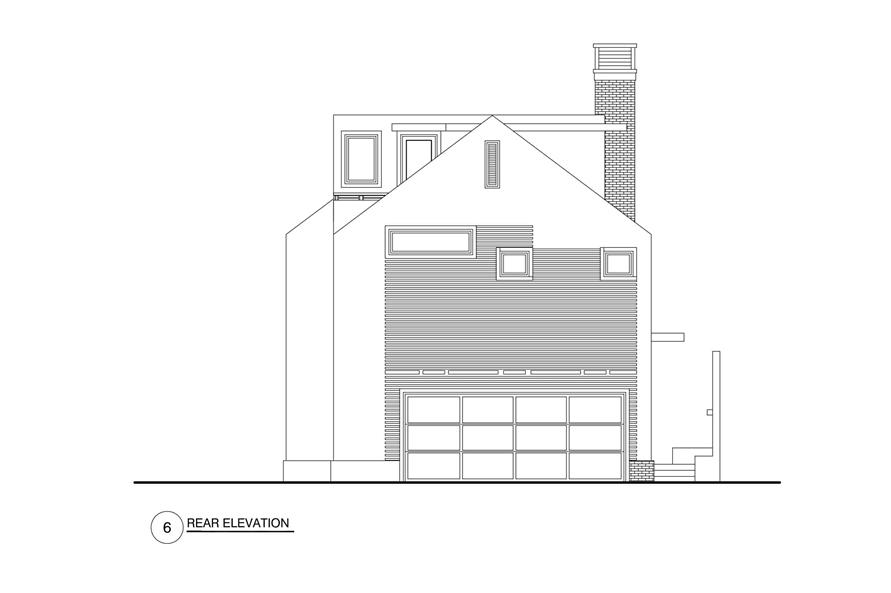 Home Plan Rear Elevation of this 4-Bedroom,3762 Sq Ft Plan -152-1013