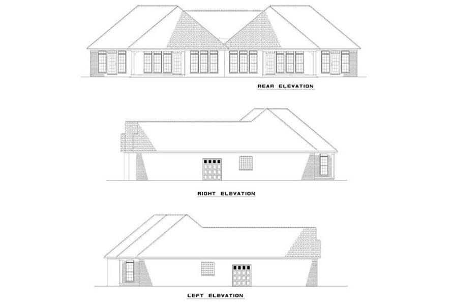 Home Plan Rear Elevation of this 2-Bedroom,1387 Sq Ft Plan -153-1000