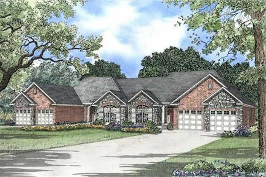 2-Bedroom, 1387 Sq Ft Multi-Unit Home Plan - 153-1000 - Main Exterior