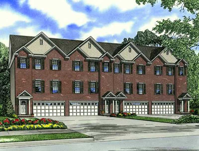 Multi unit house plans home design cambridge court 17619 for Multi unit house plans