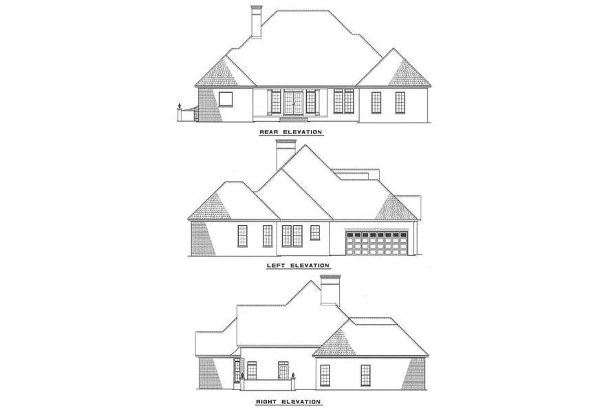 Home Plan Rear Elevation of this 3-Bedroom,2444 Sq Ft Plan -153-1004