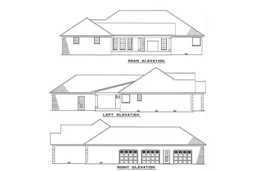 Home Plan Rear Elevation of this 3-Bedroom,2096 Sq Ft Plan -153-1005