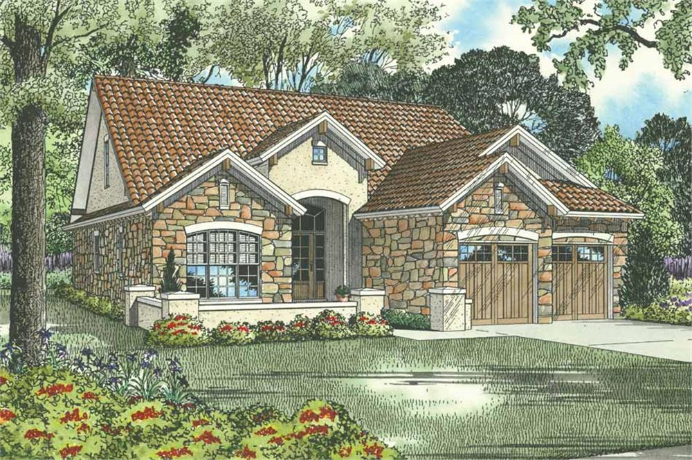 Front elevation of Tuscan home (ThePlanCollection: House Plan #153-1006)