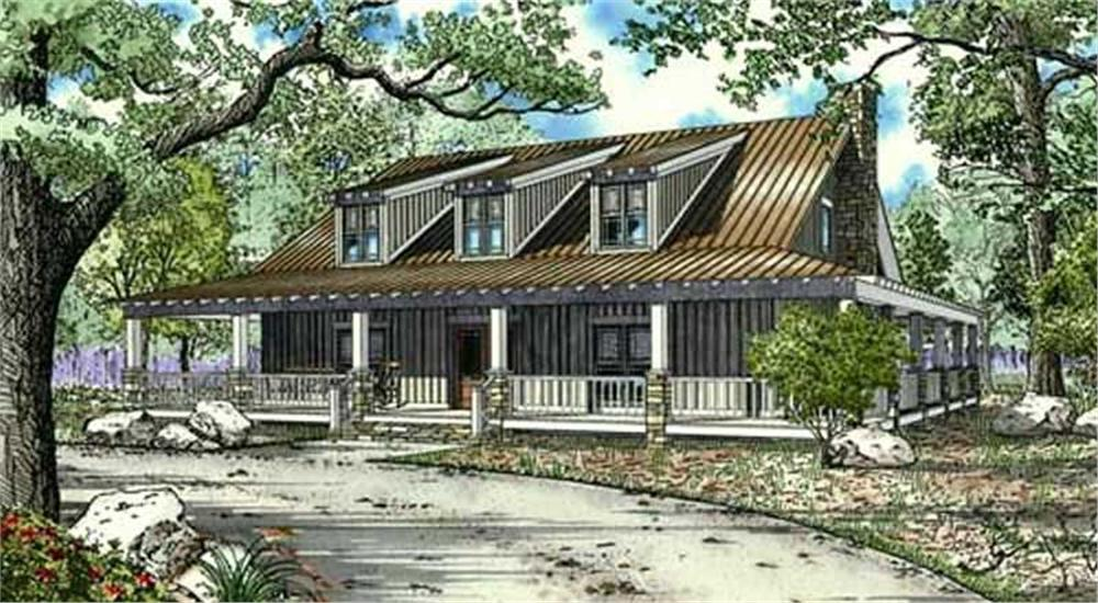 Front elevation of this camp retreat lodge (ThePlanCollection: House Plan #153-1007)
