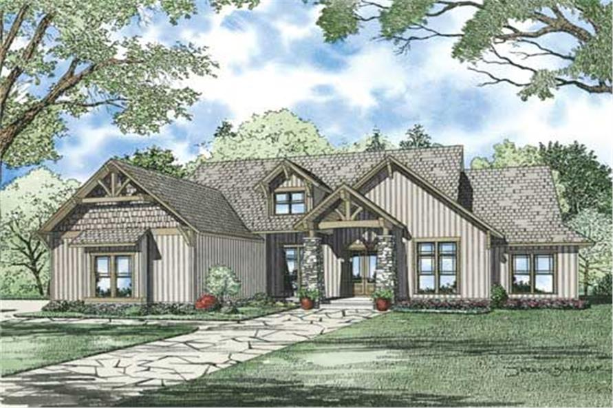 This is an artist's drawing of the front of these Craftsman House Plans.