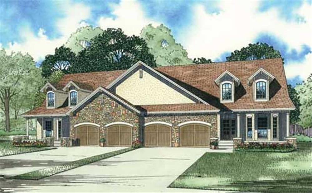 Front elevation of Duplex country home (ThePlanCollection: House Plan #153-1013)