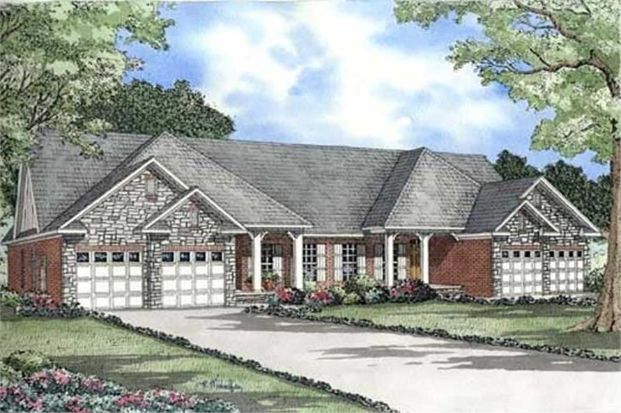 Home Plan Front Elevation of this 3-Bedroom,1504 Sq Ft Plan -153-1014