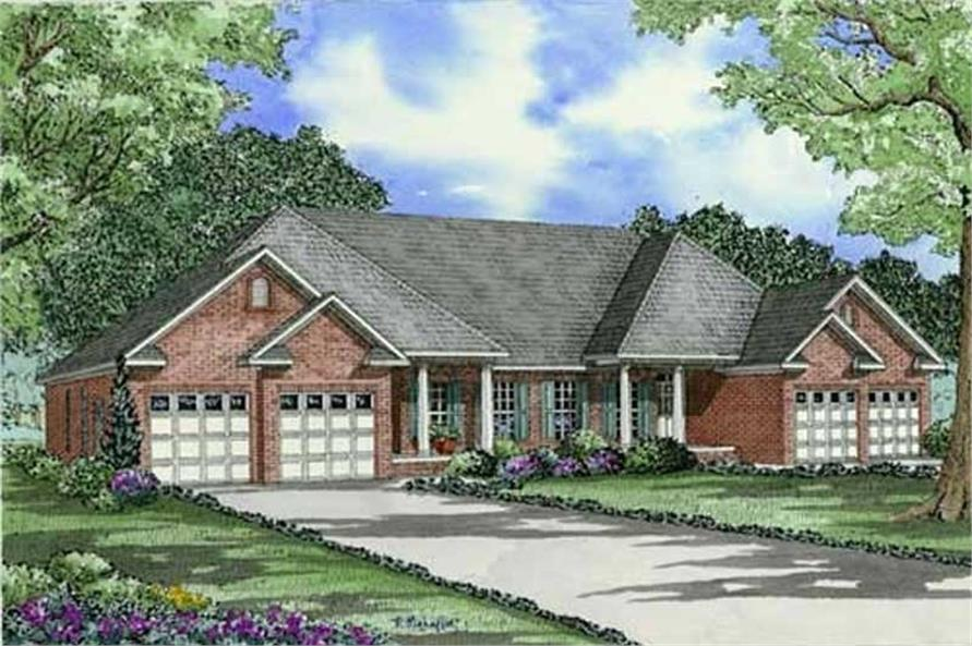 3-Bedroom, 1504 Sq Ft Multi-Unit Home Plan - 153-1014 - Main Exterior