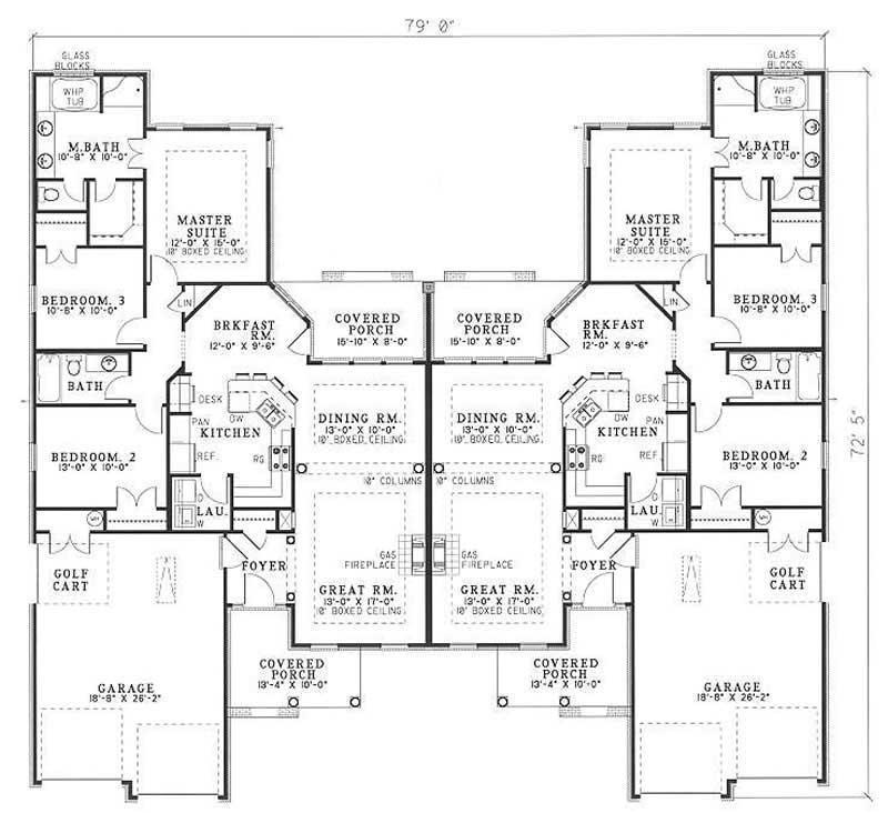Multi unit house plan 153 1014 3 bedrm 1504 sq ft per for Multi unit home plans