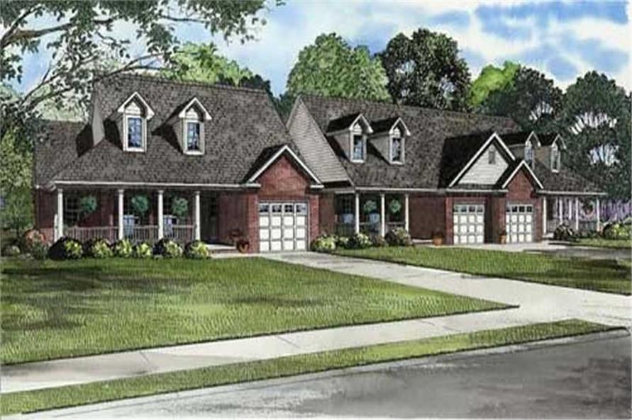 2-Bedroom, 1398 Sq Ft Multi-Unit House Plan - 153-1015 - Front Exterior