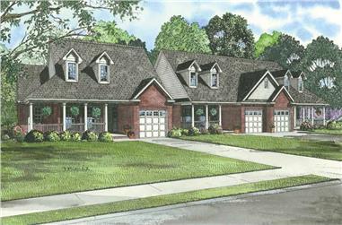 2-Bedroom, 1398 Sq Ft Per Unit Duplex Plan - 153-1015 - Front Exterior