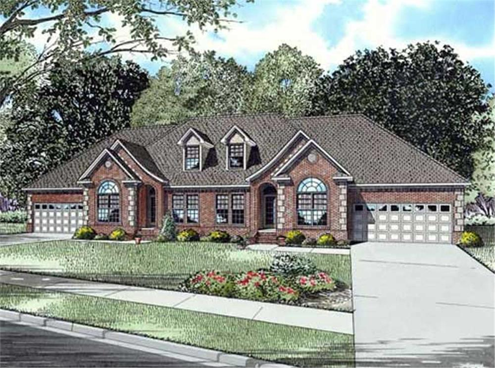 Front elevation of this multi-family home (ThePlanCollection: House Plan #153-1016)