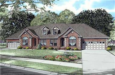 3-Bedroom, 2038 Sq Ft Per Unit Multi-Family House Plan - 153-1016 - Front Exterior