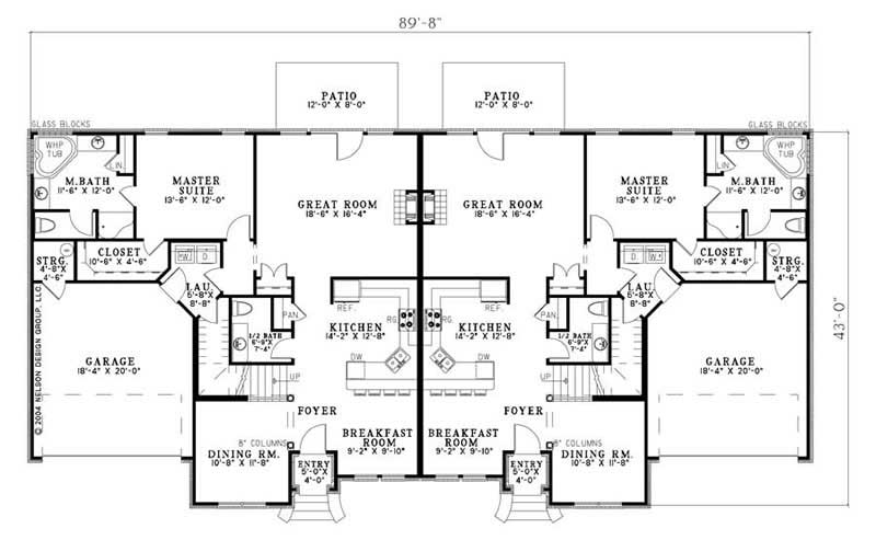 Multi unit house plan 153 1016 3 bedrm 2038 sq ft per for Multi unit house plans