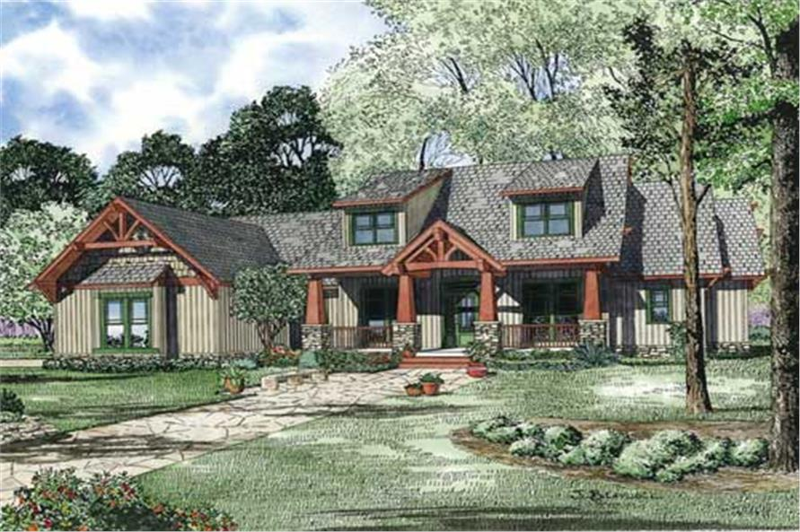 153 1020 this is an artists rendering of craftsman home plan 153 1020 - Craftsman Style House Plans