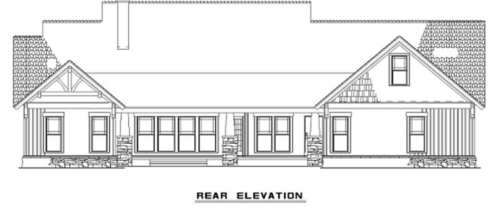 153-1020 house plan rear elevation