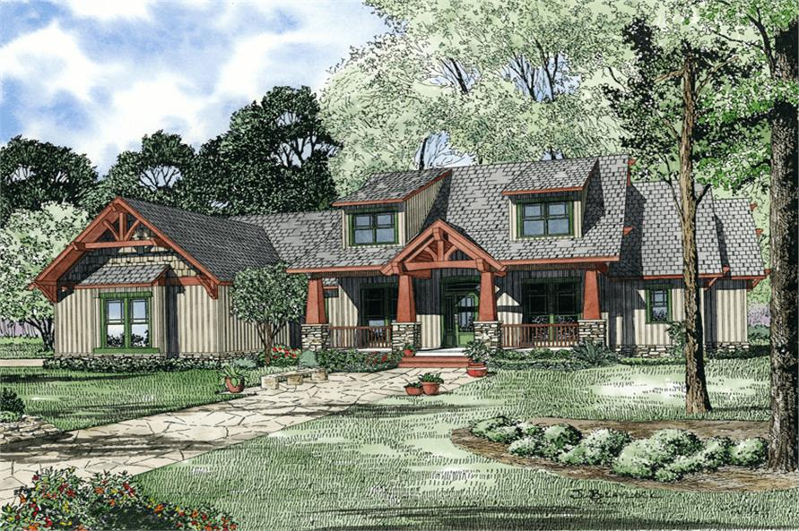 4-Bedroom, 2373 Sq Ft Country House Plan - 153-1020 - Front Exterior