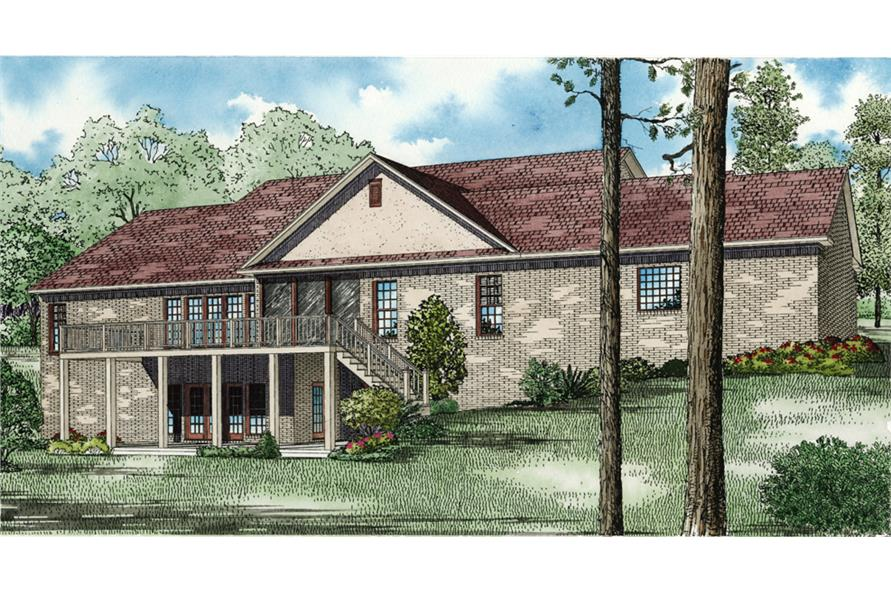 Home Plan Rear Elevation of this 5-Bedroom,4827 Sq Ft Plan -153-1021