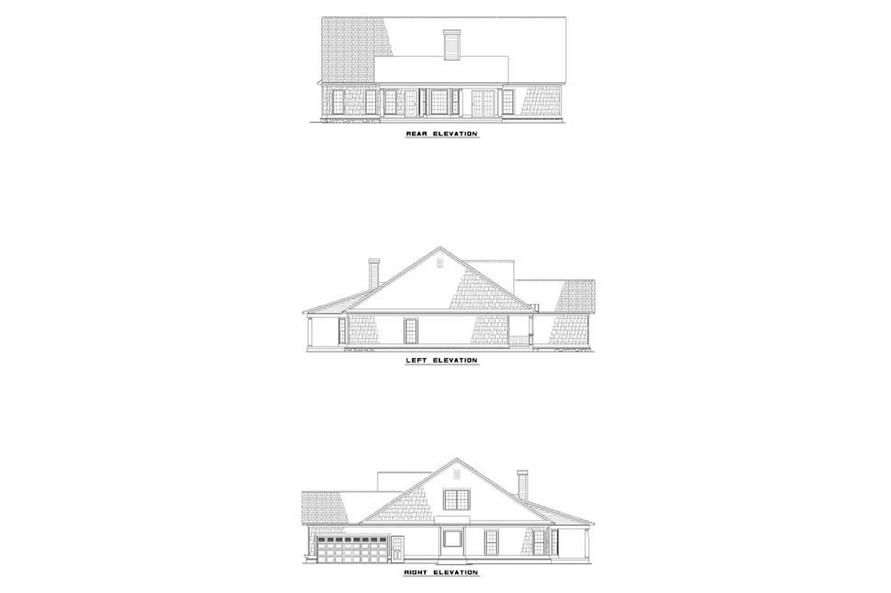 Home Plan Rear Elevation of this 4-Bedroom,2338 Sq Ft Plan -153-1022