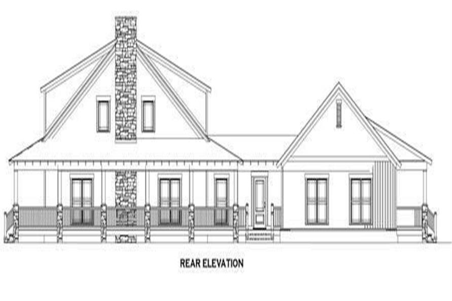 153-1023: Home Plan Rear Elevation