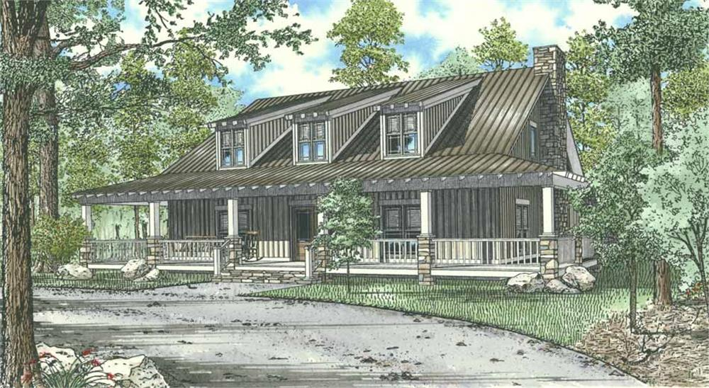 Front elevation of vacation lodge home (ThePlanCollection: House Plan #153-1023)