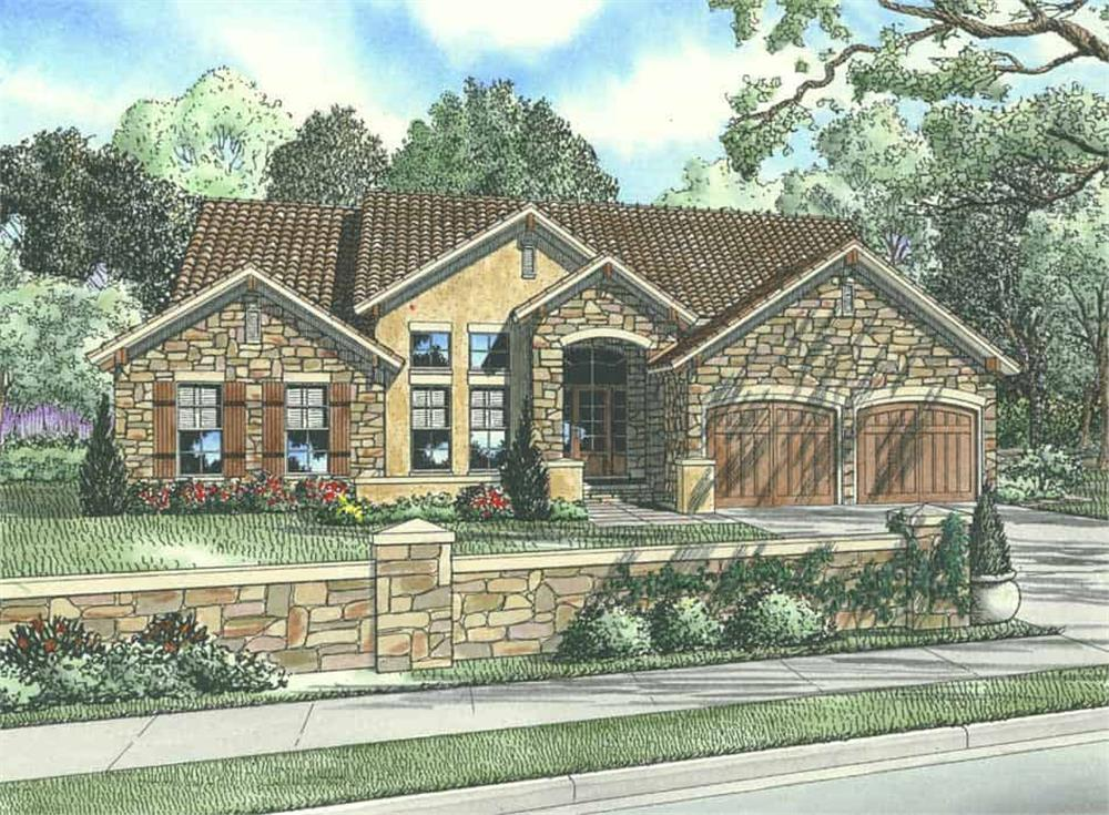 Front elevation of Tuscan home (ThePlanCollection: House Plan #153-1024)