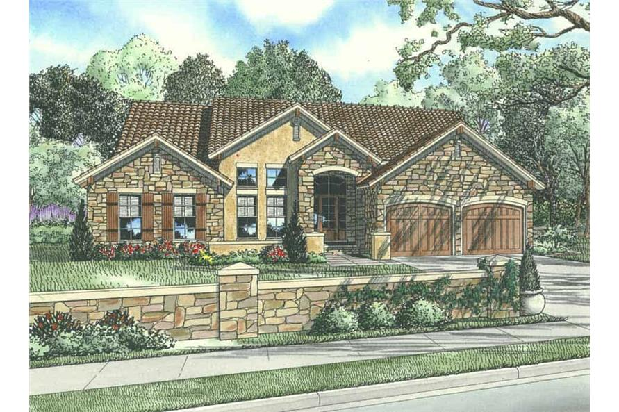 3-Bedroom, 2256 Sq Ft Tuscan Home Plan - 153-1024 - Main Exterior