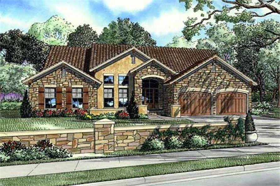 3-Bedroom, 2256 Sq Ft European House Plan - 153-1024 - Front Exterior