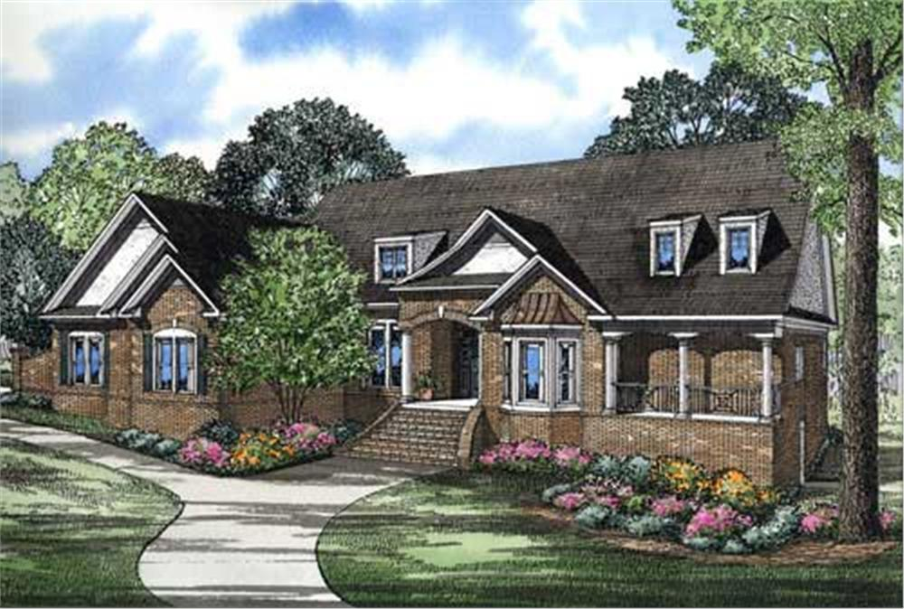 This is a colored rendering of these Contemporary European Country House Plans.