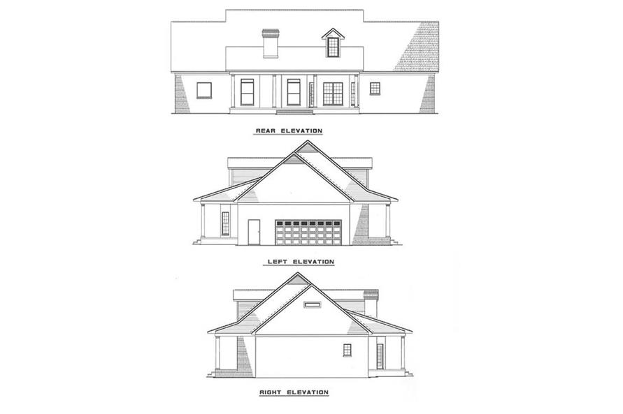 Home Plan Rear Elevation of this 5-Bedroom,2698 Sq Ft Plan -153-1028