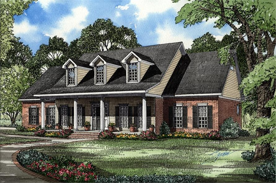 Home Plan Front Elevation of this 5-Bedroom,2698 Sq Ft Plan -153-1028