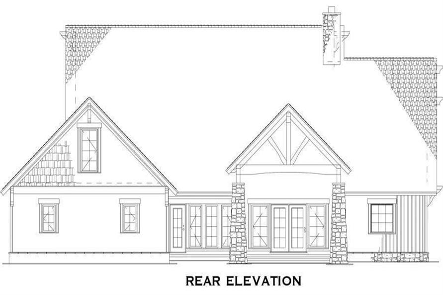 Home Plan Rear Elevation of this 4-Bedroom,3206 Sq Ft Plan -153-1029