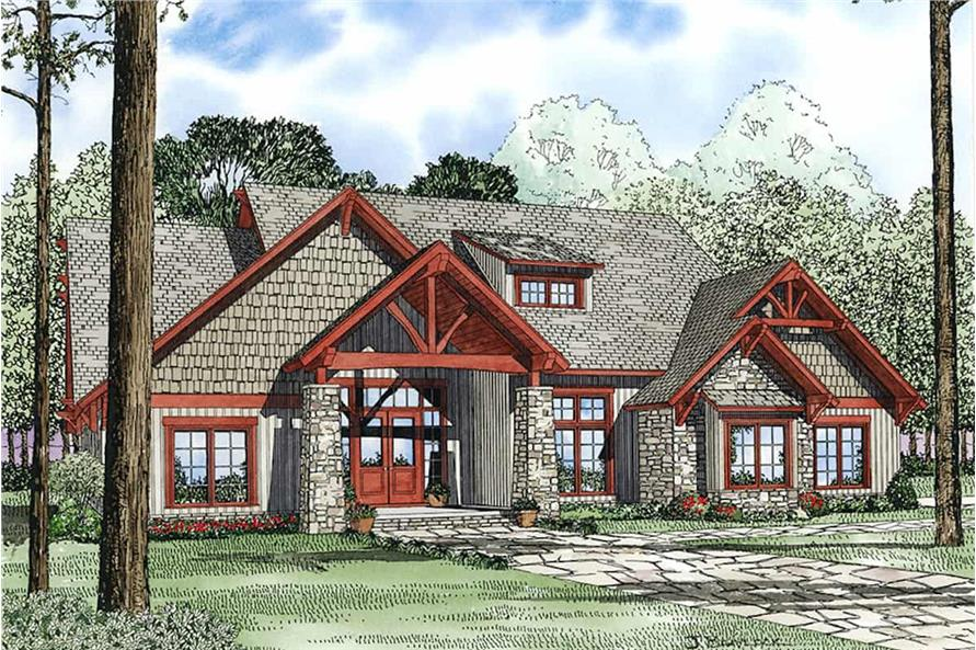 Front View of this 4-Bedroom,3206 Sq Ft Plan -153-1029