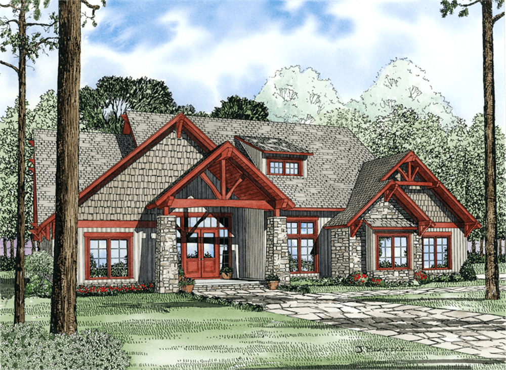 Front elevation of rustic home (ThePlanCollection: House Plan #153-1029)