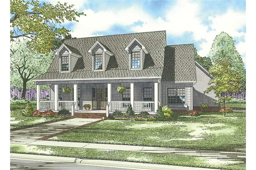 Front elevation of Country home (ThePlanCollection: House Plan #153-1030)