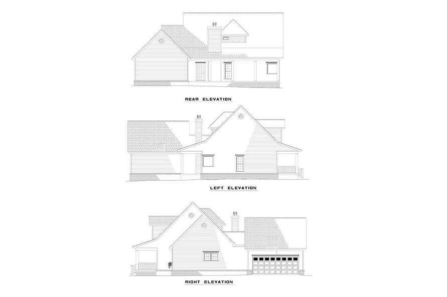 153-1030: Home Plan Left Elevation, Right Elevation, Rear Elevation