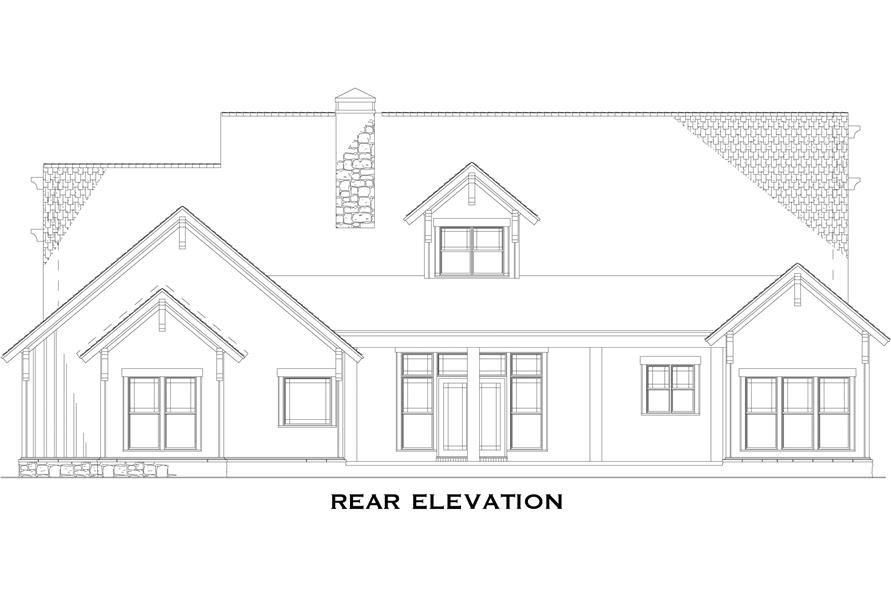 Home Plan Rear Elevation of this 4-Bedroom,2994 Sq Ft Plan -153-1031