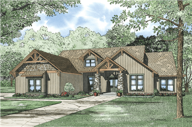 4-Bedroom, 2994 Sq Ft Rustic House Plan - 153-1031 - Front Exterior