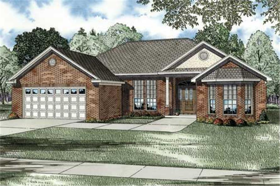 This is a colored elevation for these classy European Homeplans.