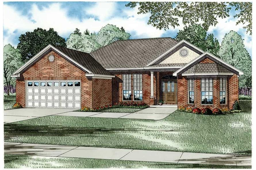 Front elevation of European home (ThePlanCollection: House Plan #153-1032)