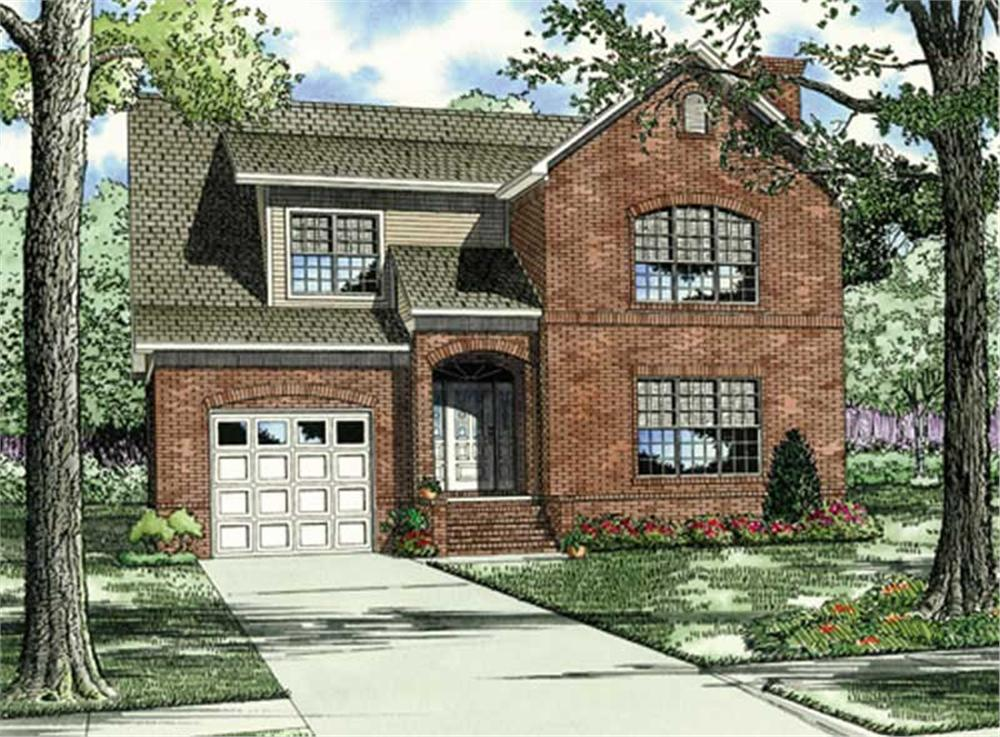 Front elevation of Contemporary home (ThePlanCollection: House Plan #153-1035)