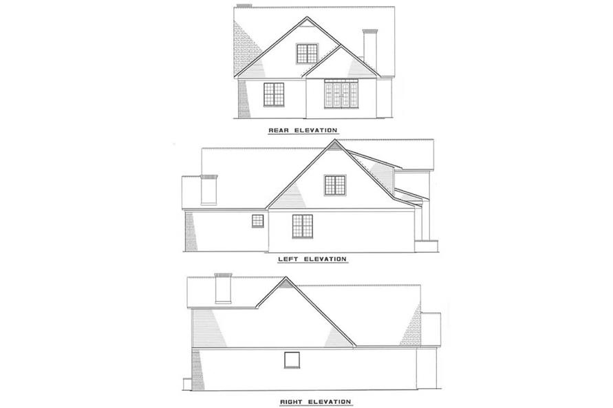 Rear and Side Elevations of this 3-Bedroom,3202 Sq Ft Plan -153-1035