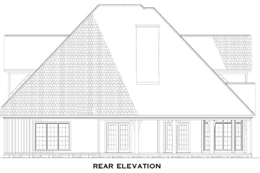 Home Plan Rear Elevation of this 4-Bedroom,2755 Sq Ft Plan -153-1036