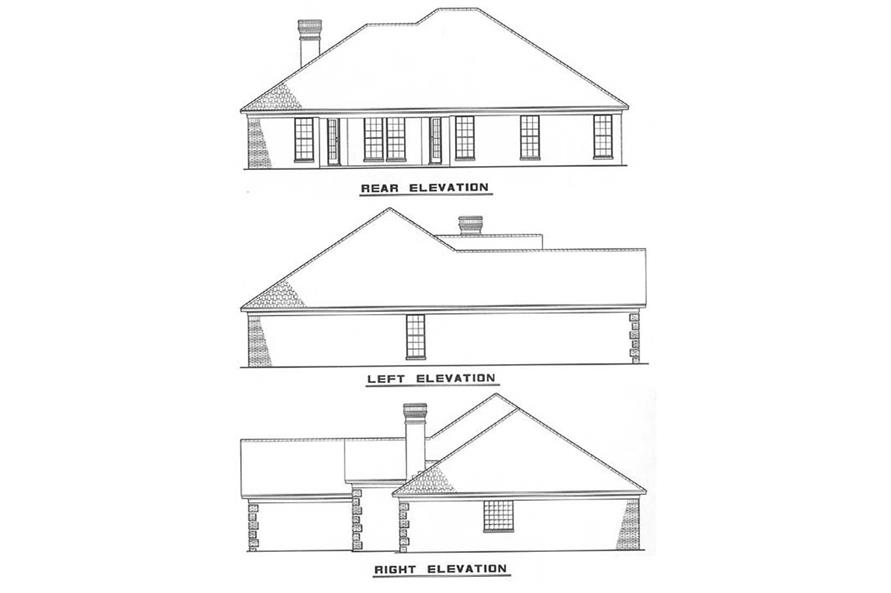 Home Plan Rear Elevation of this 3-Bedroom,1764 Sq Ft Plan -153-1038