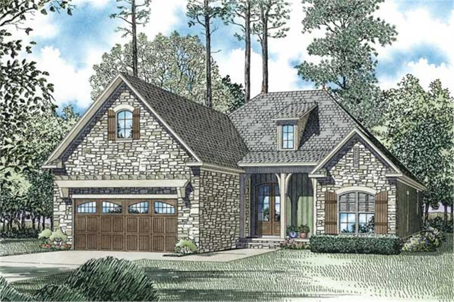 Color rendering of Country home plan (ThePlanCollection: House Plan #153-1044)