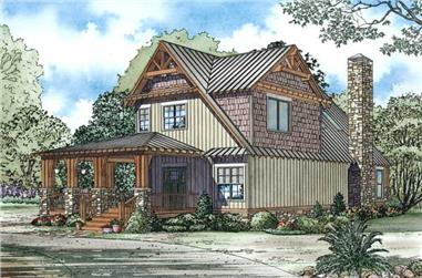 This is the front elevation of these Arts and Crafts Home Plans