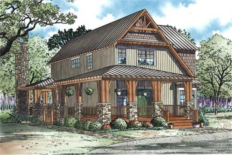 Home Plan Rear Elevation of this 3-Bedroom,1705 Sq Ft Plan -153-1050