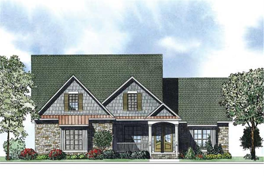 This is the front elevation of these colorful Craftsman House Plans