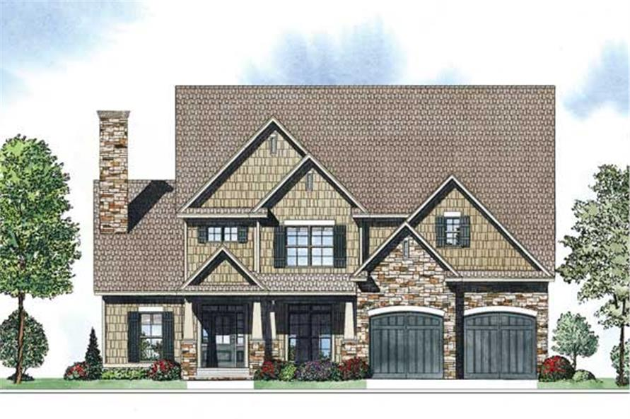 This is an artist's rendering for these Craftsman Home Plans