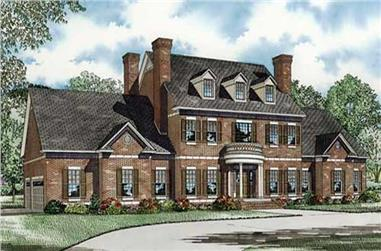 Front elevation of Colonial home (ThePlanCollection: House Plan #153-1058)